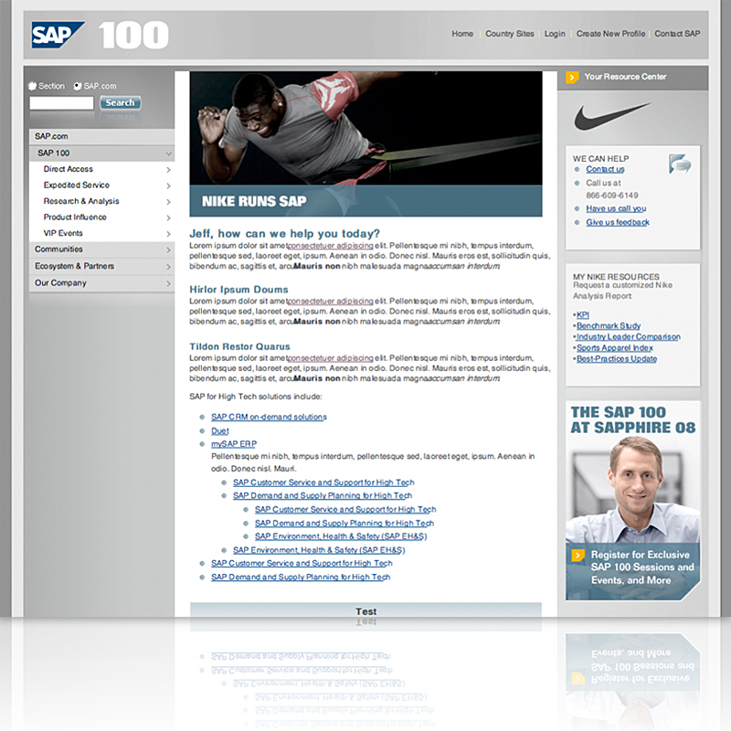 SAP 100 Customer Portal